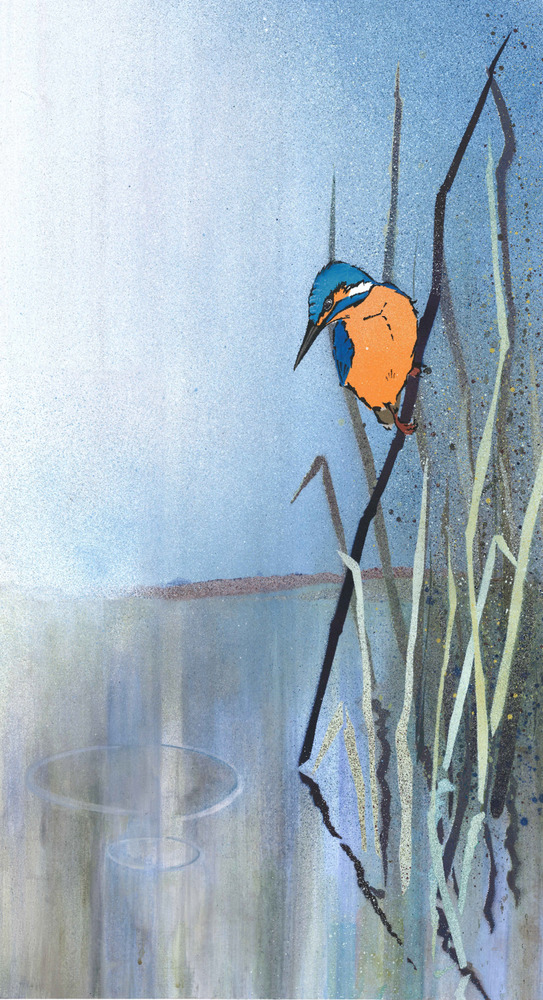 Kingfisher on Reed