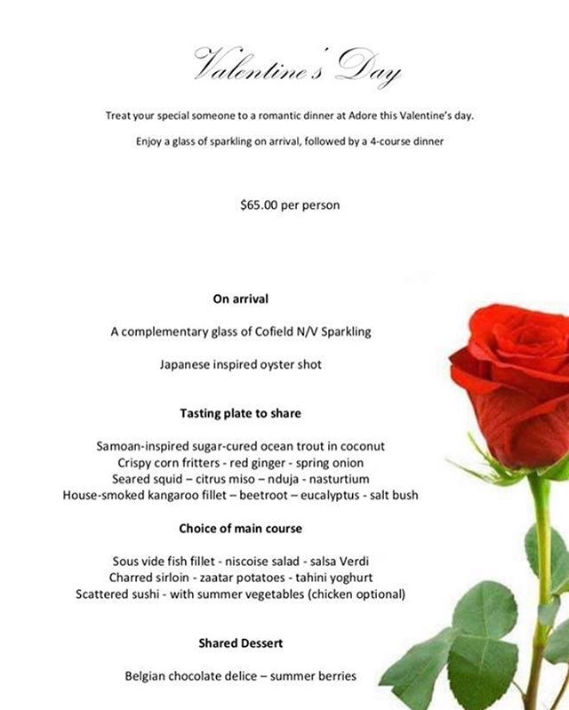 Treat your special someone to a romantic dinner at Adore this Valentine's Day. 🌹  Enjoy a glass of sparkling on arrival, followed by a 4-course dinner.🥂 To make a booking call (02) 6021 1703. #food#wine#cocktails#alburywodonga#local#deanst#whatsbehindsthepinkdoor