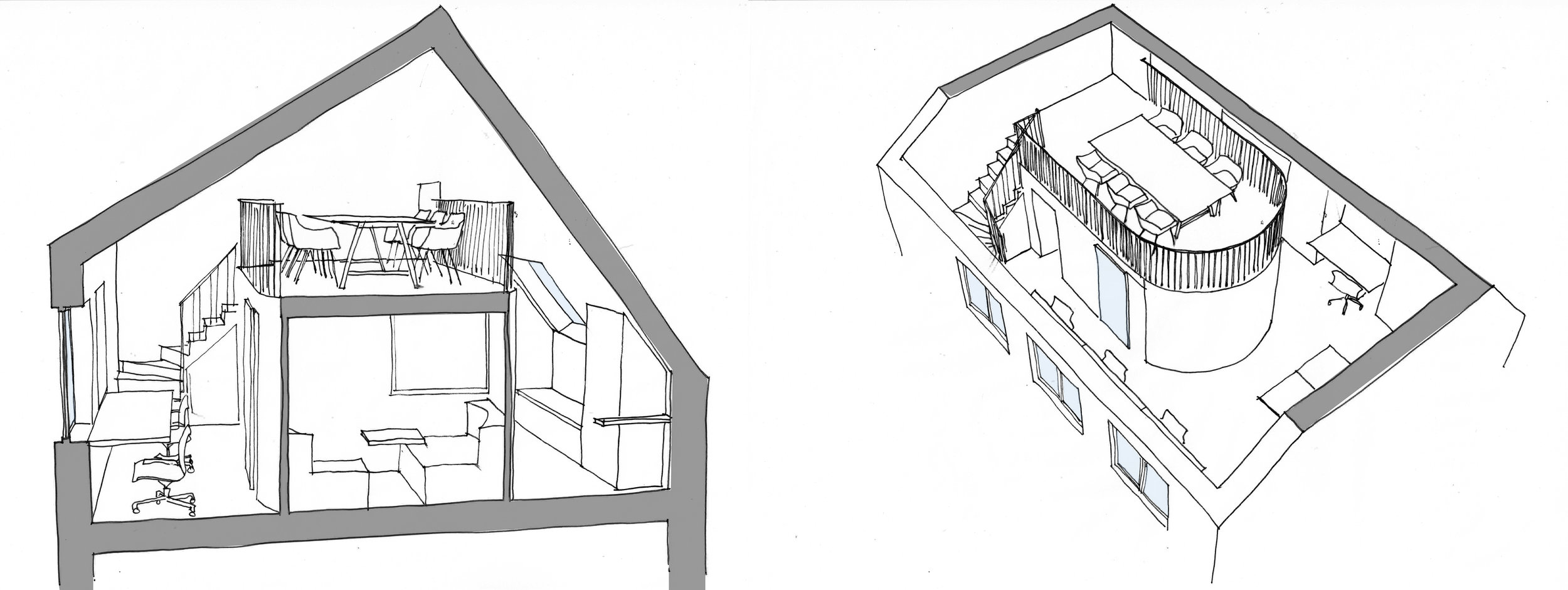 Cambridge court: Mezzanine for meeting office creating a separate environment from the rest of the office.