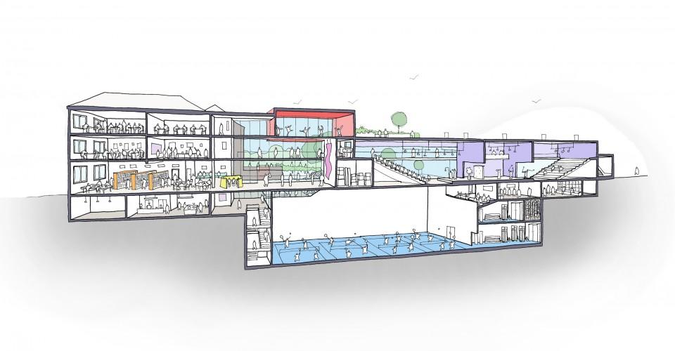 Sub-structure design of underground basketball court
