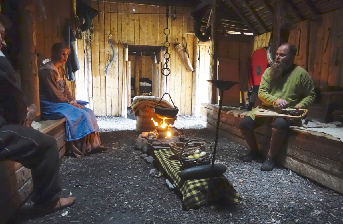 THE INTERIOR OF A RECONSTRUCTED VIKING DWELLING. L'ANSE AUX MEADOWS.