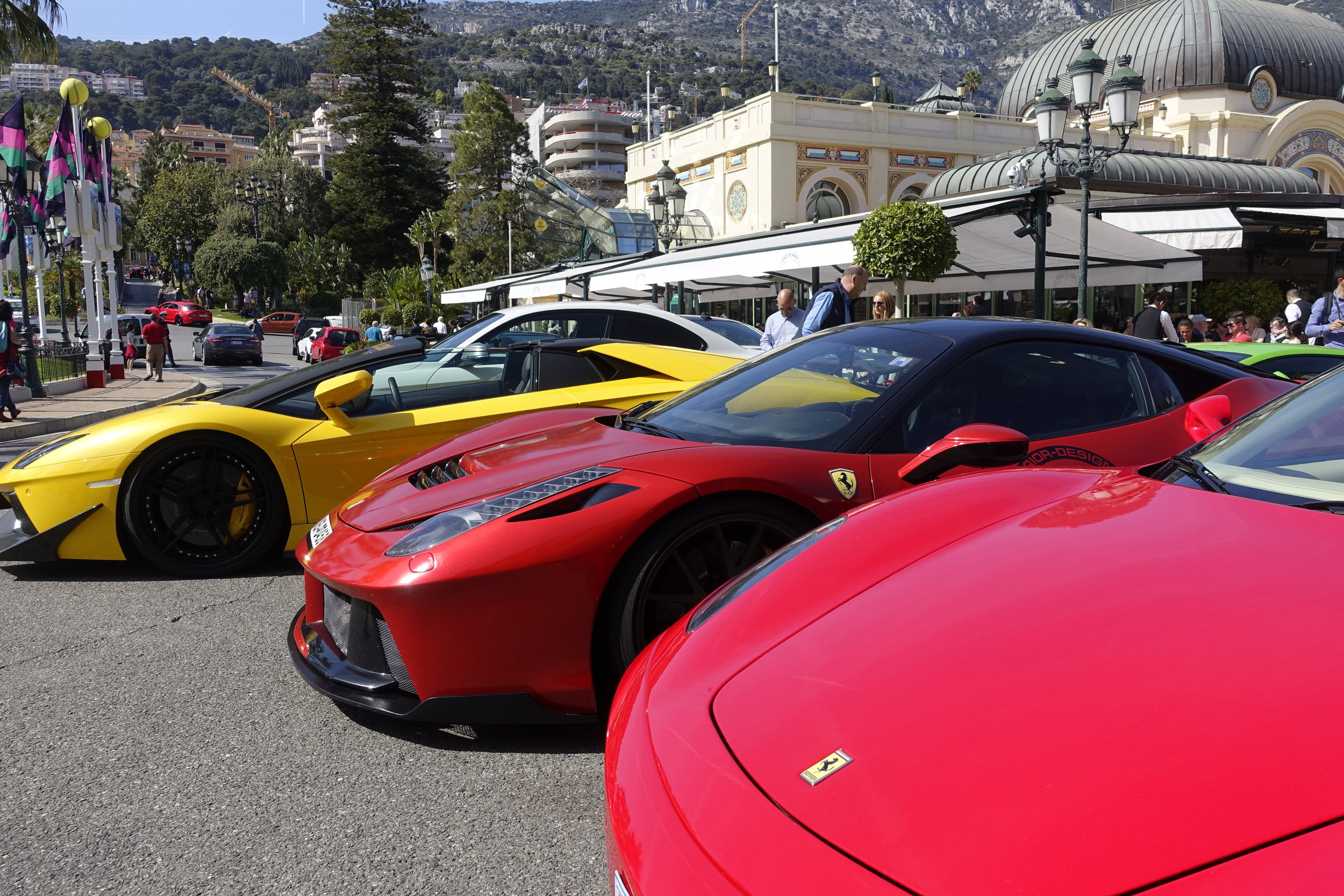 Supercars in the Golden Square - Monte Carlo.