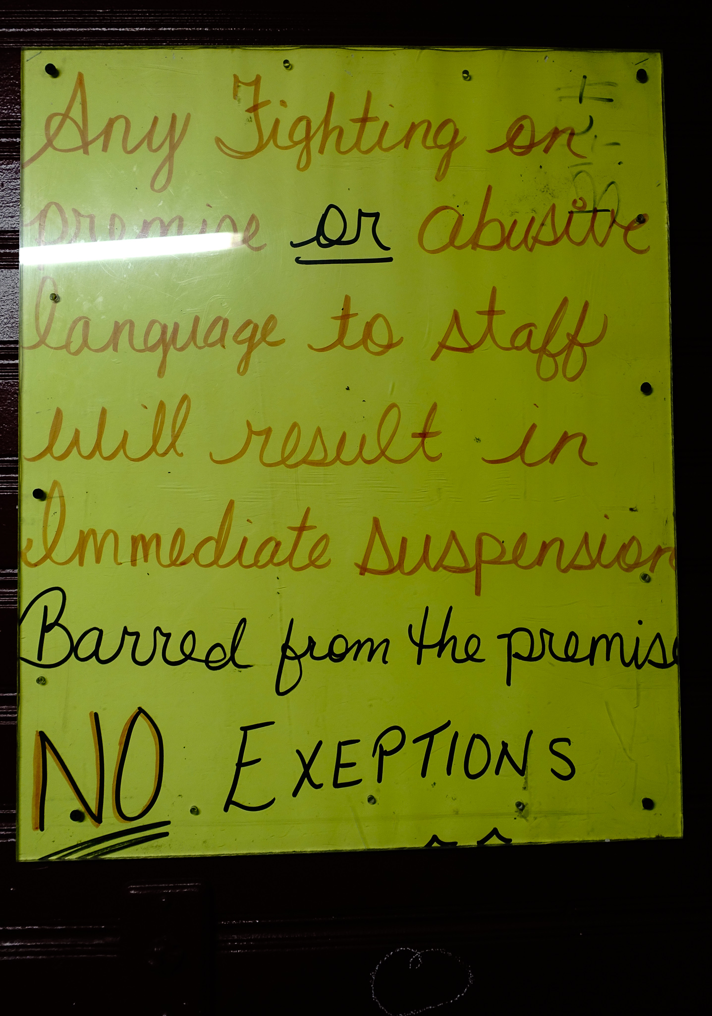 NO FIGHTING AND SWEARING ALLOWED AT THE MAD TRAPPER.