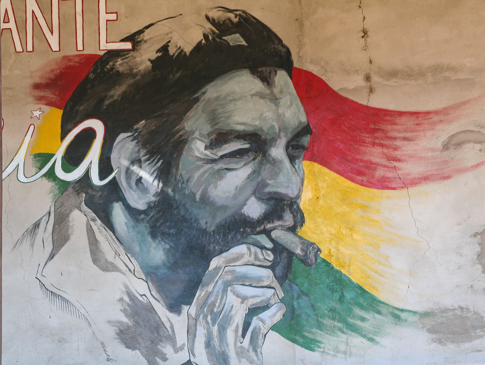 A MURAL OF CHE ON ONE OF THE WALLS IN THE SETTLEMENT OF LA HIGUERA.