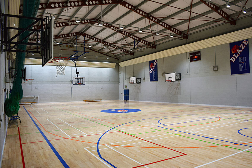 MAIN HALL - The main hall hosts basketball, badminton, school PE, volleyball, dodgeball, football and more.The main hall measures 34m x 18m (4 badminton courts), with a quality wooden floor and superb LED lighting.Prices per hourOne-off £59Private group £49Community group (adults) £35Community group (youth) £29
