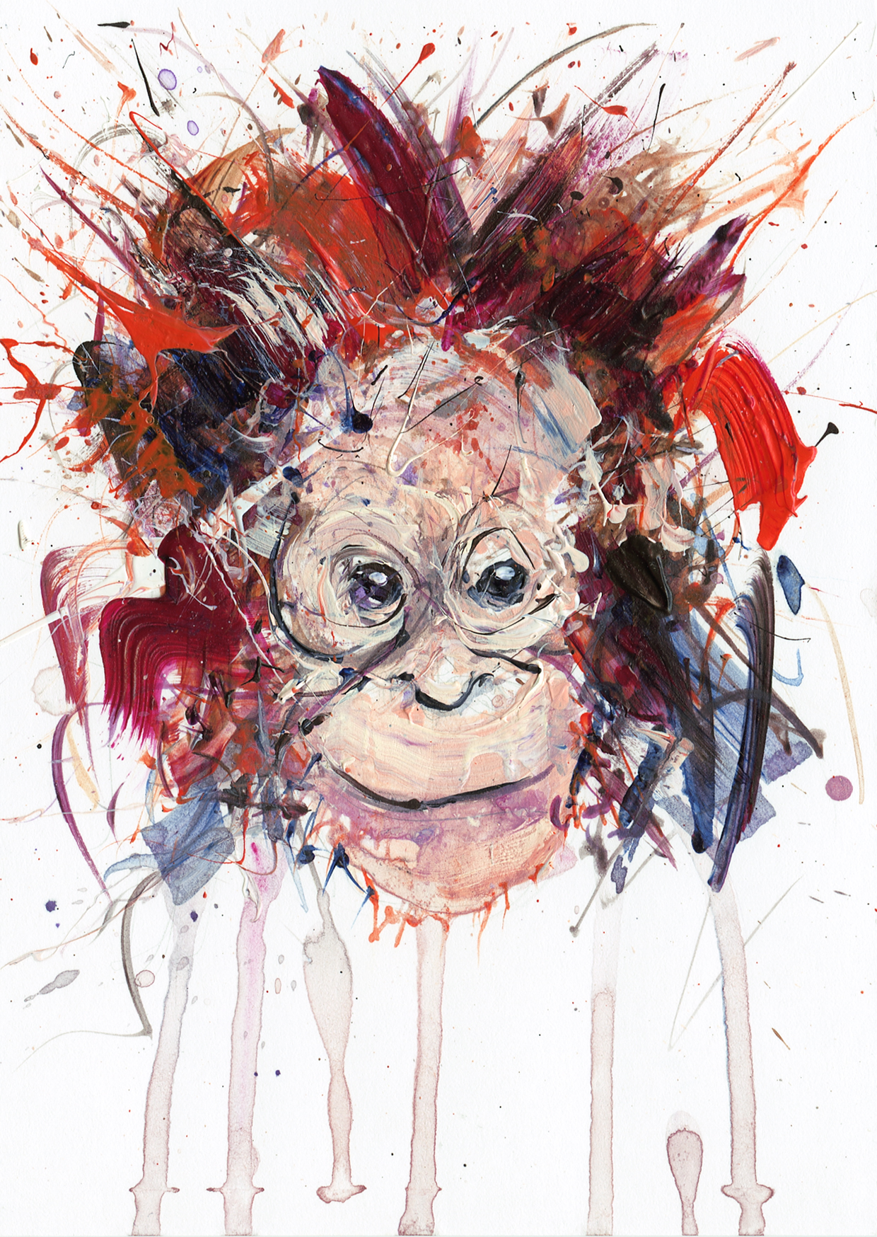 Lot 212 - Young Orangutan (Acrylic) by Dave White sold for £500
