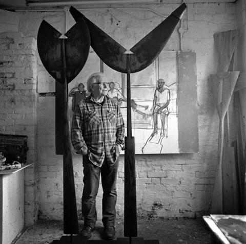 John Wragg in his studio with Adam and Eve, 2015