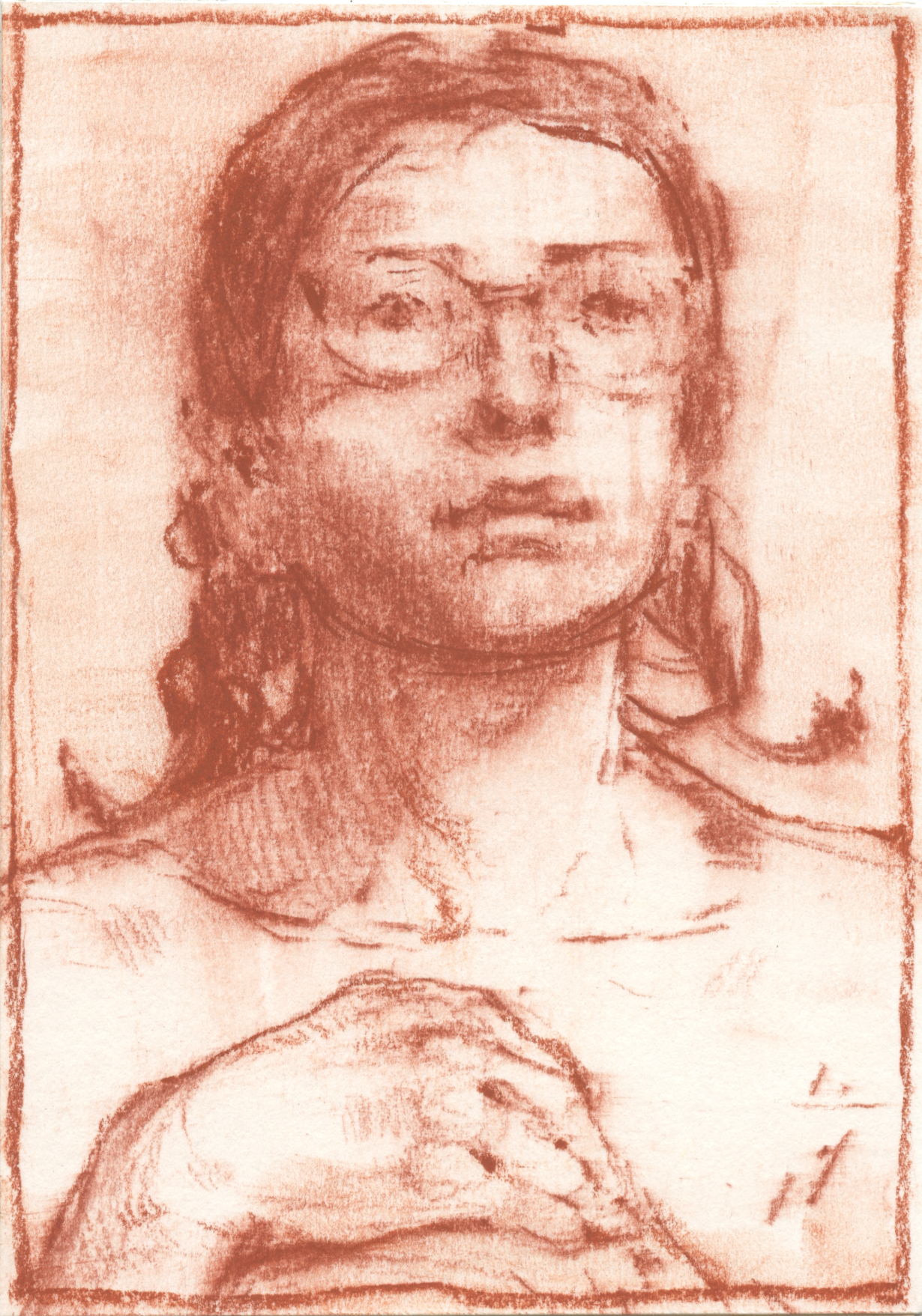 Lot 584 Beth (In Glasses) - Contè Crayon on Card