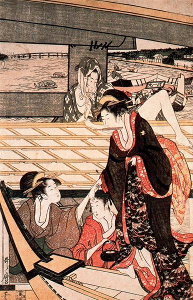 Japanese Ukiyo- A scene on the bridge  Kitagawa Utamaro