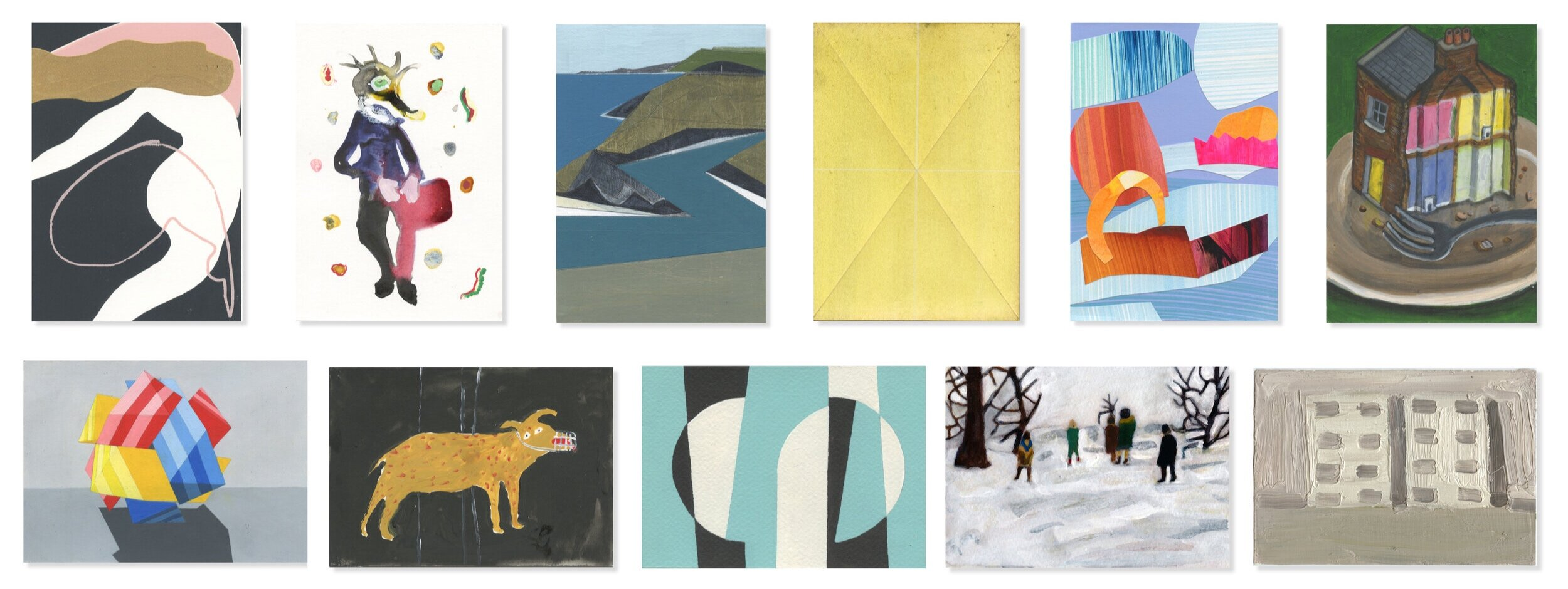 Top row: Lot 99 - 'Dancer', Lot 82 - 'The Meeting 4', Lot 160 - 'Vertical Coast', Lot 61 - 'Yellow with White (Folded/Scored)', Lot 21 - 'Owning the Sky', Lot 210 - 'Demolition'    Bottom row: Lot 24 - 'Christmas Too', Lot 1 - 'Bad Dog', Lot 54 - 'Transience', Lot 85 - 'Winter Walk', Lot 16 - 'Pills Blister Pack Vertical'