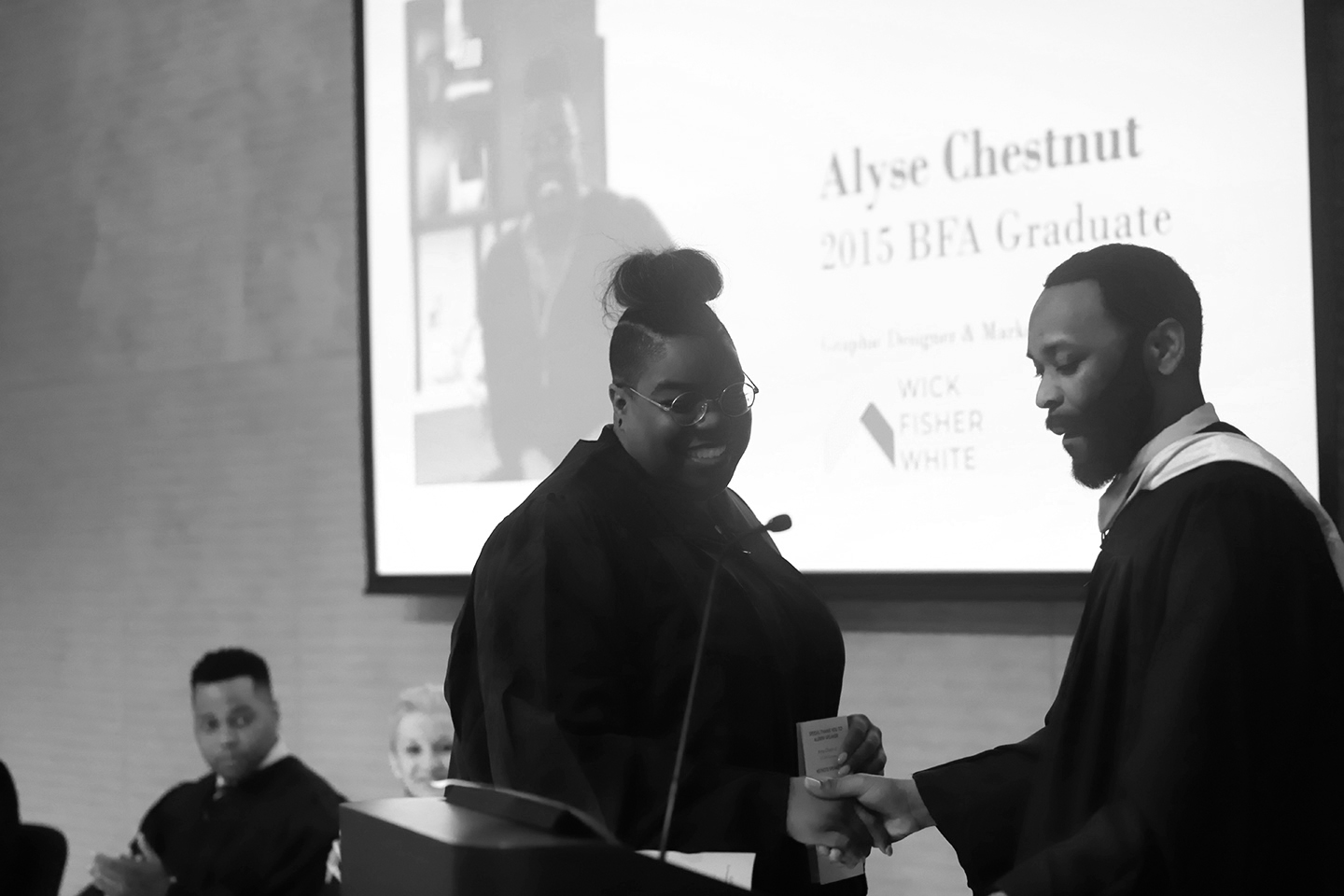 January 2019 Alyse's Alma Mater reached out as they were beginning to plan their graduation ceremony and extended an invitation for her to address the 2019 class as a Hussian College, School of Art alumni. The graduation ceremony was held at The Barnes Foundation on May 14, 2019. Alyse was the first to speak to the class at the ceremony and she was able to give some encouraging words to her fellow graphic designers and soon-to-be creative professionals.