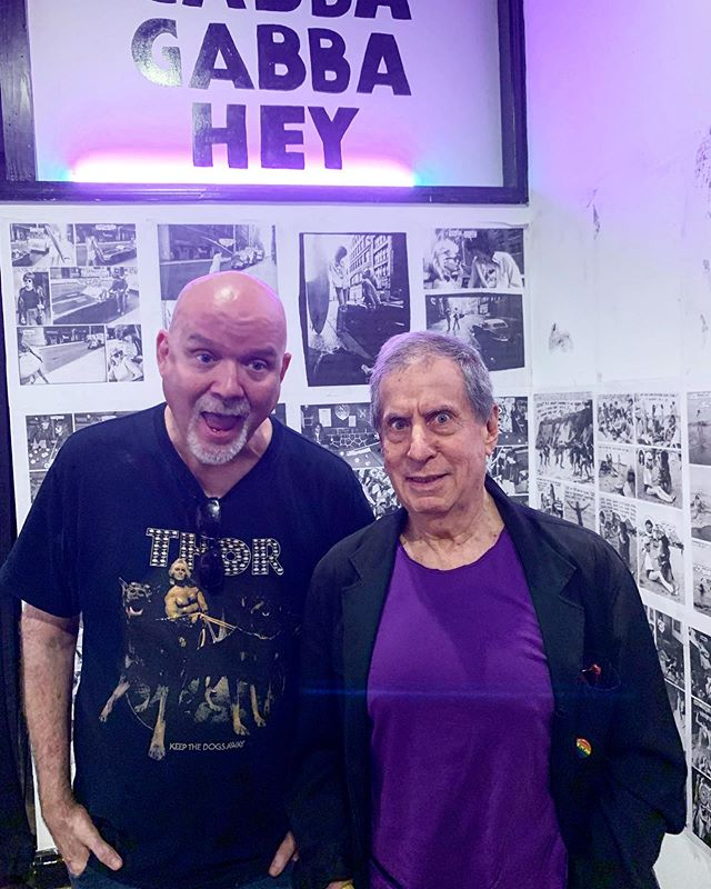 Two legends talking art and punk in a sneak preview of John Holmstrom's show. Thanks Danny Fields for stopping by and regaling is with your tales! #dannyfields #dannysays  Stop by tomorrow at 6pm for the opening. 72 Orchard Street  For the first time the underground cartoonist, writer and founding editor of Punk Magazine, John Holmstrom brings together the huge catalogue of work he created for the legendary band the Ramones.  The show runs September 5th - October 18th, 2019  John first met the Ramones at the very dawn of the New York Punk Scene. As the founding editor of Punk Magazine at the age of 21 in late 1975, Holmstrom's work became the visual representation of the punk era.  He featured the band on the cover of Punk Magazine issue #3 – helping to cement them as the quintessential punk band and Joey Ramone as the silhouette to be replicated in countless teenage bedrooms to this day. John went on to have a long collaborative relationship with the band – most famously illustrating the album covers Rocket to Russia and Road to Ruin.  After Punk ceased publication in 1979, he worked for several publications, including The Village Voice, Video Games magazine, K-Power, and Heavy Metal.  This show give a rare opportunity to see the artists long lasting collaboration displayed as a single body of work. One which still feels as fresh and vibrant today as it did when the ink first hit the paper.  #comic #comics #illustration #ramones #punk #nycpunk #newyorkpunk #punks #punkrock #punkrockmusic #punklegends #historyofpunk #punksnotdead #cbgb #lowereastsidenyc #nyc #newyork #photooftheday #music #style #fashion #art #artexhibition #artnyc #artnewyork
