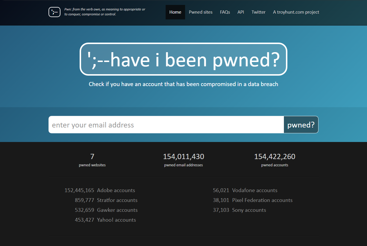 https://haveibeenpwned.com as of 2013/12/17.