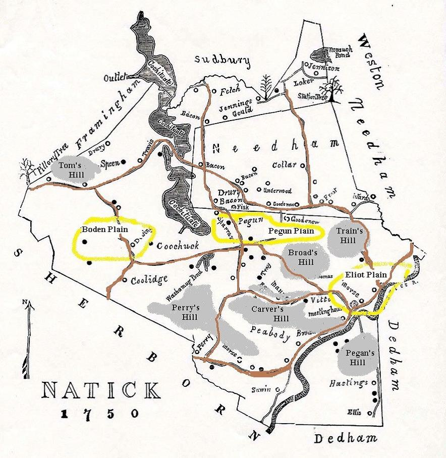 Map of Natick in 1750  (In Natick Historical Society collections)