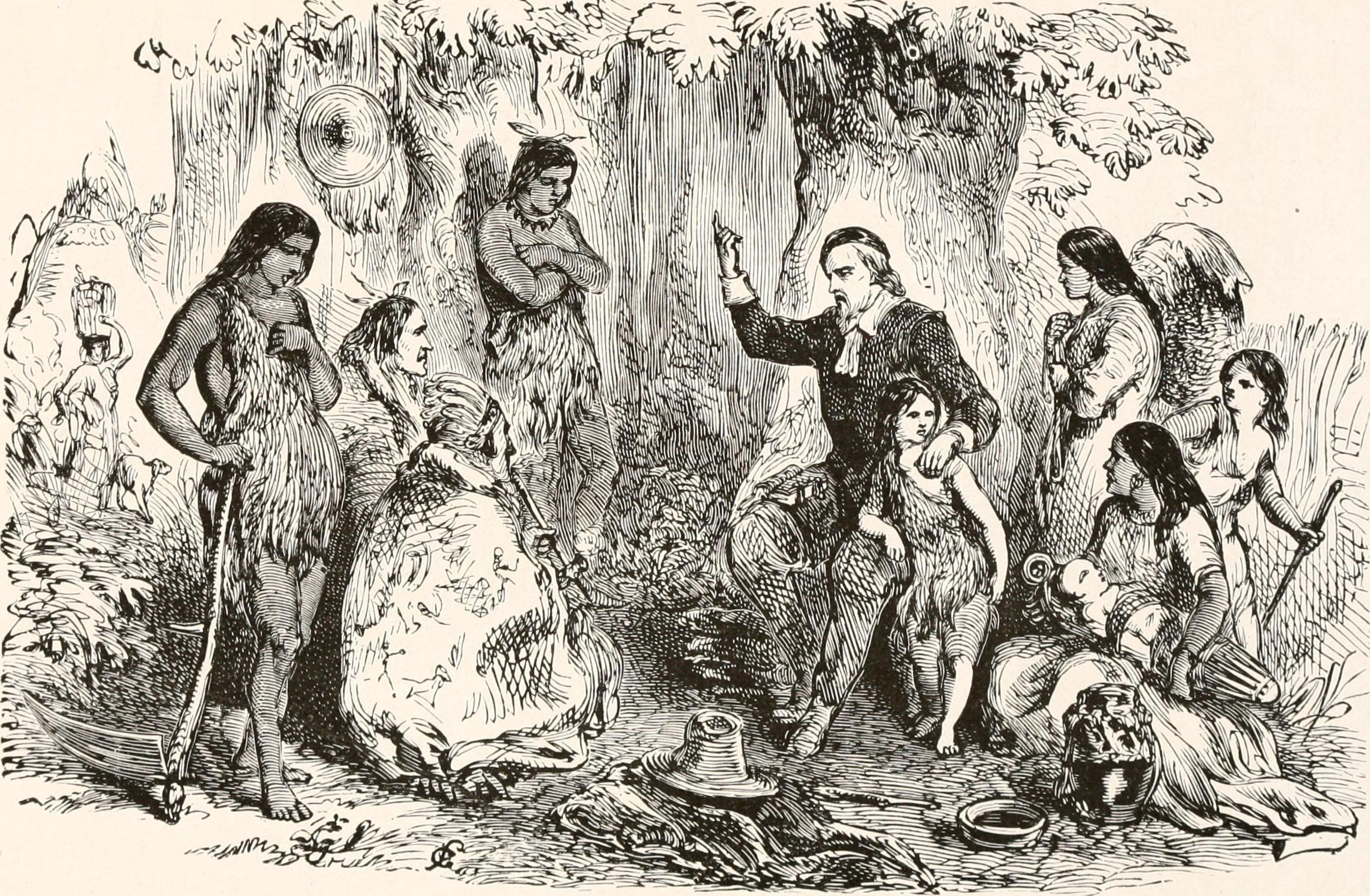 """""""John Eliot preaching to the Indians"""" (from  Indian History for Young Folks , 1919, Wikimedia Commons)"""