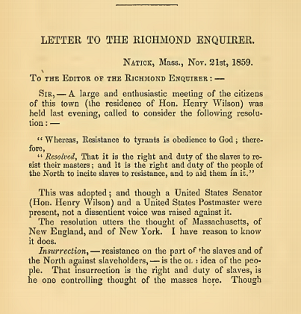 Rev. Henry Clarke Wright's letter to the  Richmond Enquirer