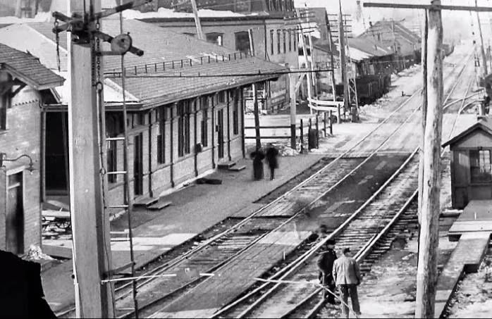 Natick's first train station was a modest structure, built only a few feet from the tracks.
