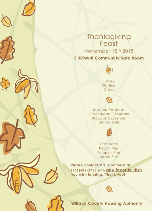 All residents of WCHA are welcomed to join us for our annual Thanksgiving Feast.
