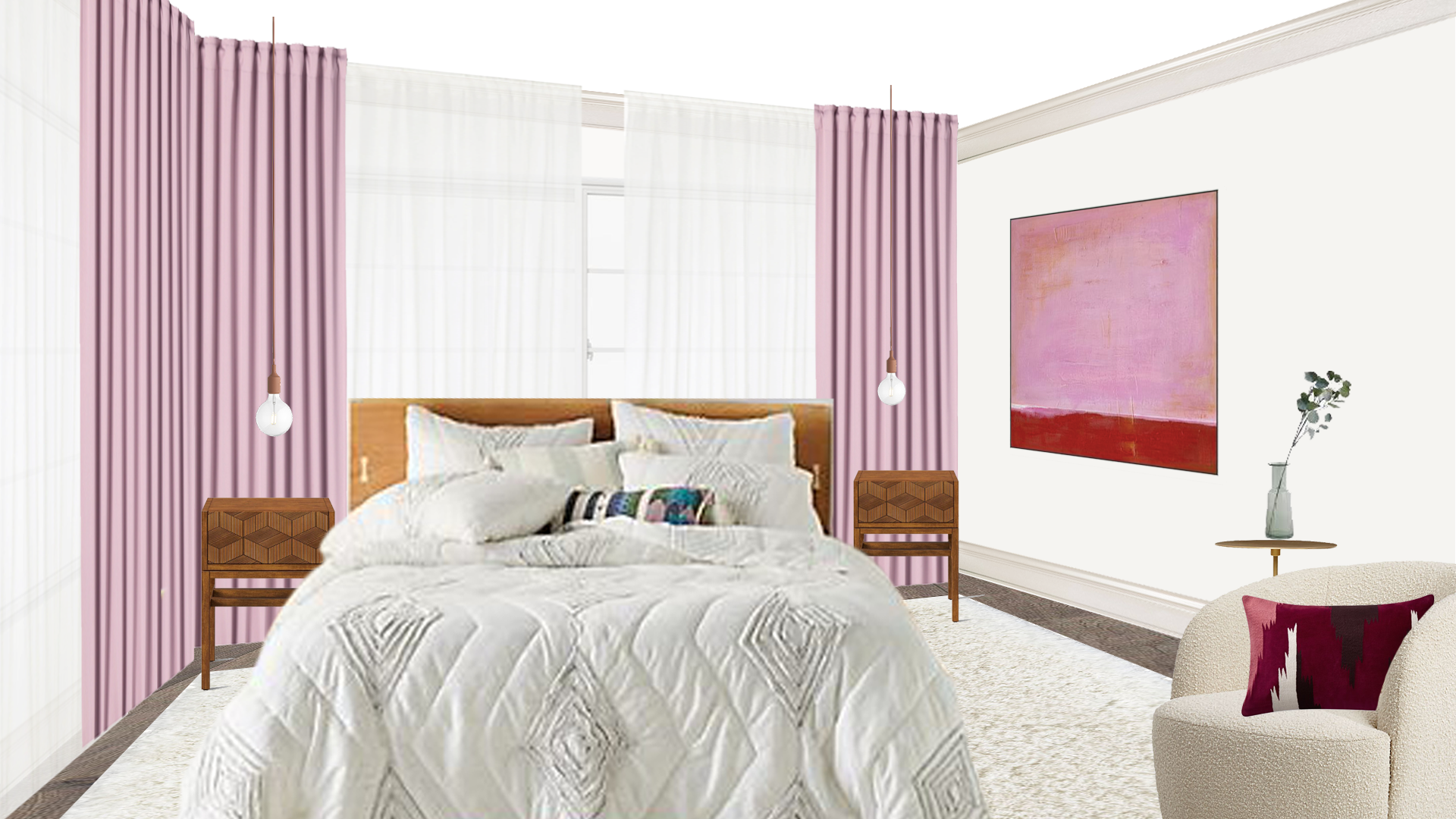 This bedroom was designed for a friend who wanted to see her love of soft rose colored lipstick applied into her room. She wanted soft textures, warm woods, and large velvet curtains to block out some of the noise and light that comes from the two large windows that sit on her main and adjacent wall. Though the room is small, the height of the curtains add volume and depth while the soft palette allows for a large open feel.