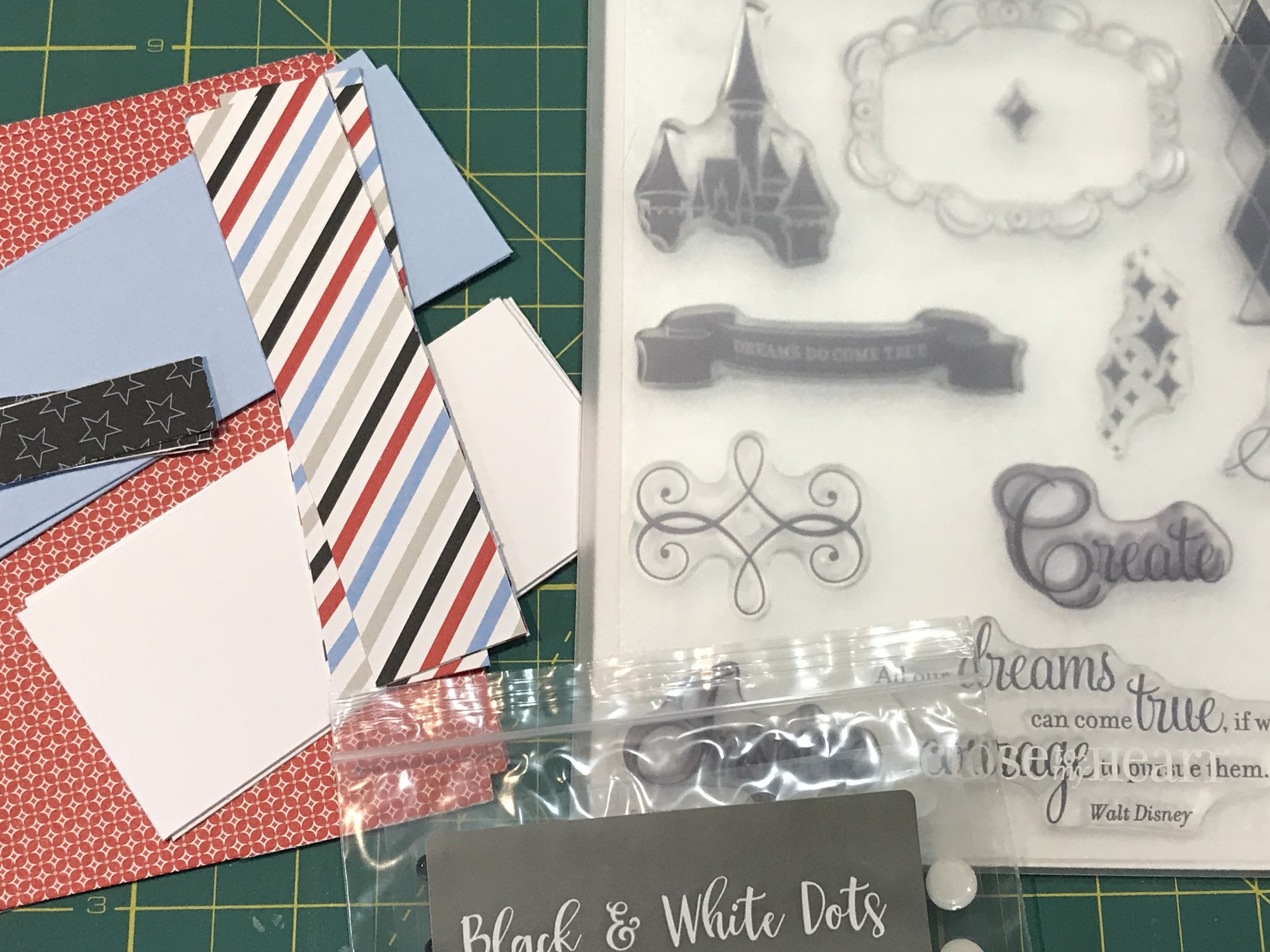 The Workshop Kit comes with the cards, envelopes, paper, stamps and embellishments to create the 8 cards.