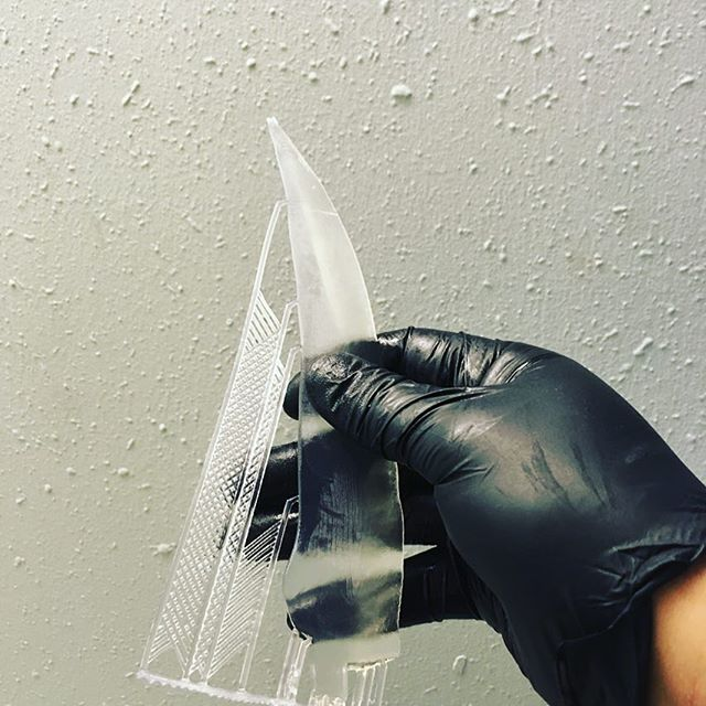 Prop printing, using silicone like resin to print a harmless blade that can't even be used to cut a tomato. There is great potential using this material #3dprinting #silicone #prop #netflix #movies
