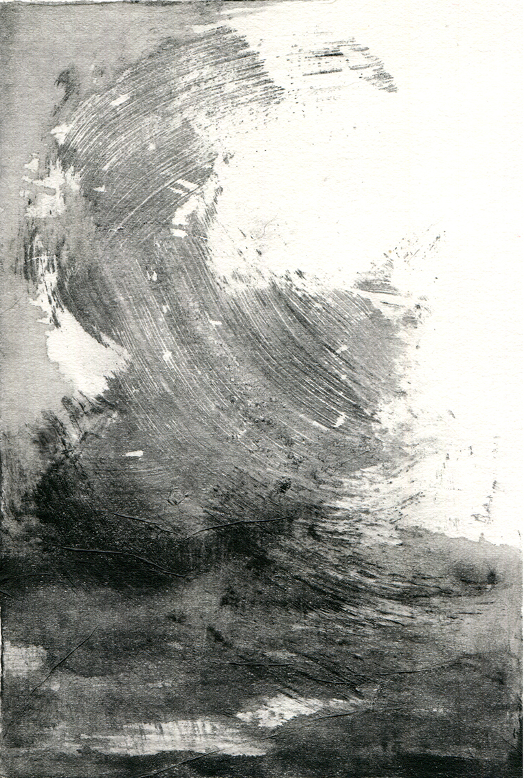 Finding Rhythms IV  10 x 15cm  Monotype, watercolour on Japanese marushi paper