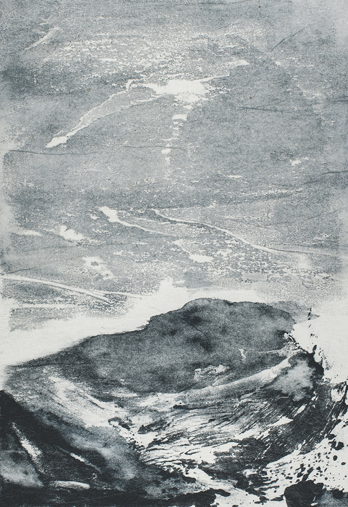 Undercurrents I  10 x 15cm  Monotype, watercolour on Japanese marushi paper
