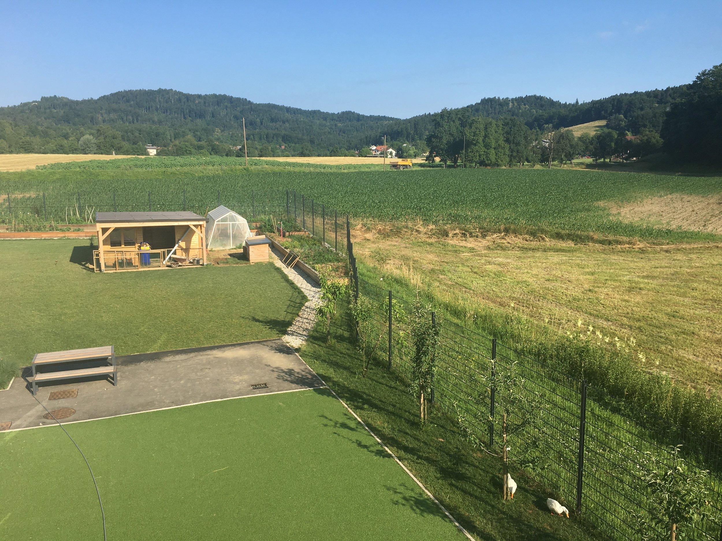 Play area and farm land