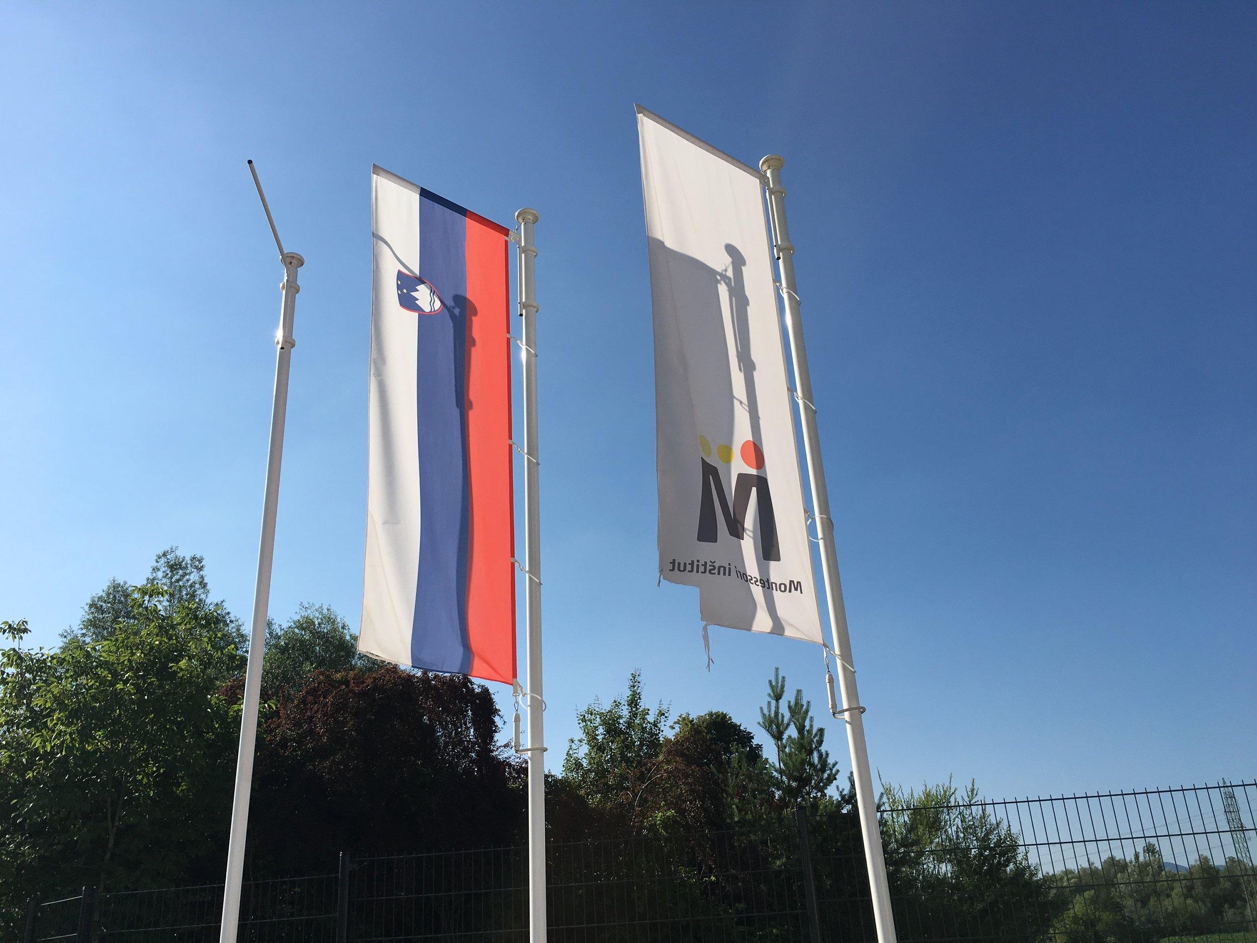 Slovenian flag and school flag