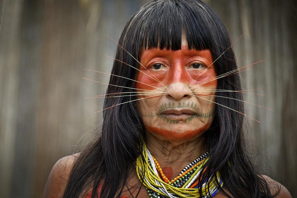 A Mayoruna man dressed for a hunt.
