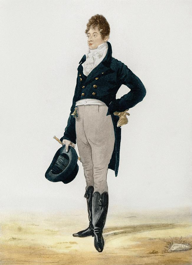 """Original """"Dandy"""" Beau Brummell, revolutionised men's dress with his more simple and elegant style, Replacing the more common, elaborate regency fashions of the day with a look based on dark coats, full-length trousers rather than knee breeches and stockings, and above all, an immaculate shirt and elaborately knottedcravat."""