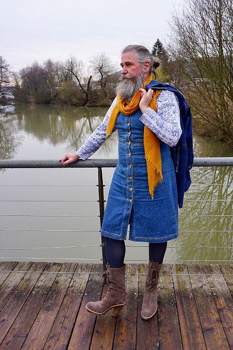 Markus Muth in a denim dress