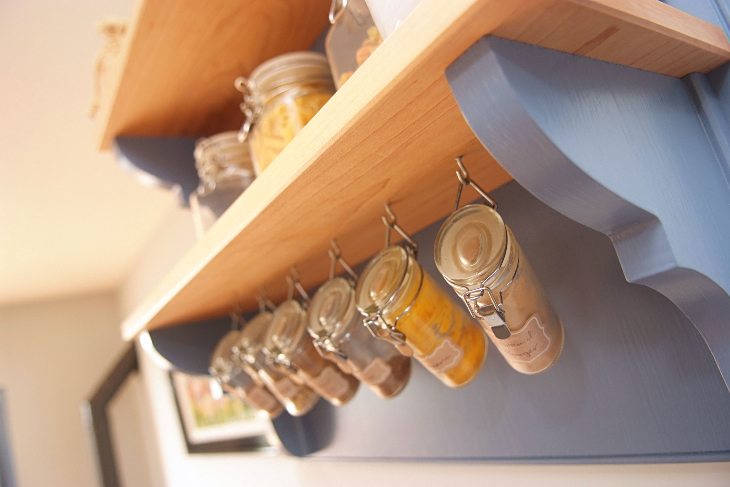 Bespoke wall hung maple and painted spice rack