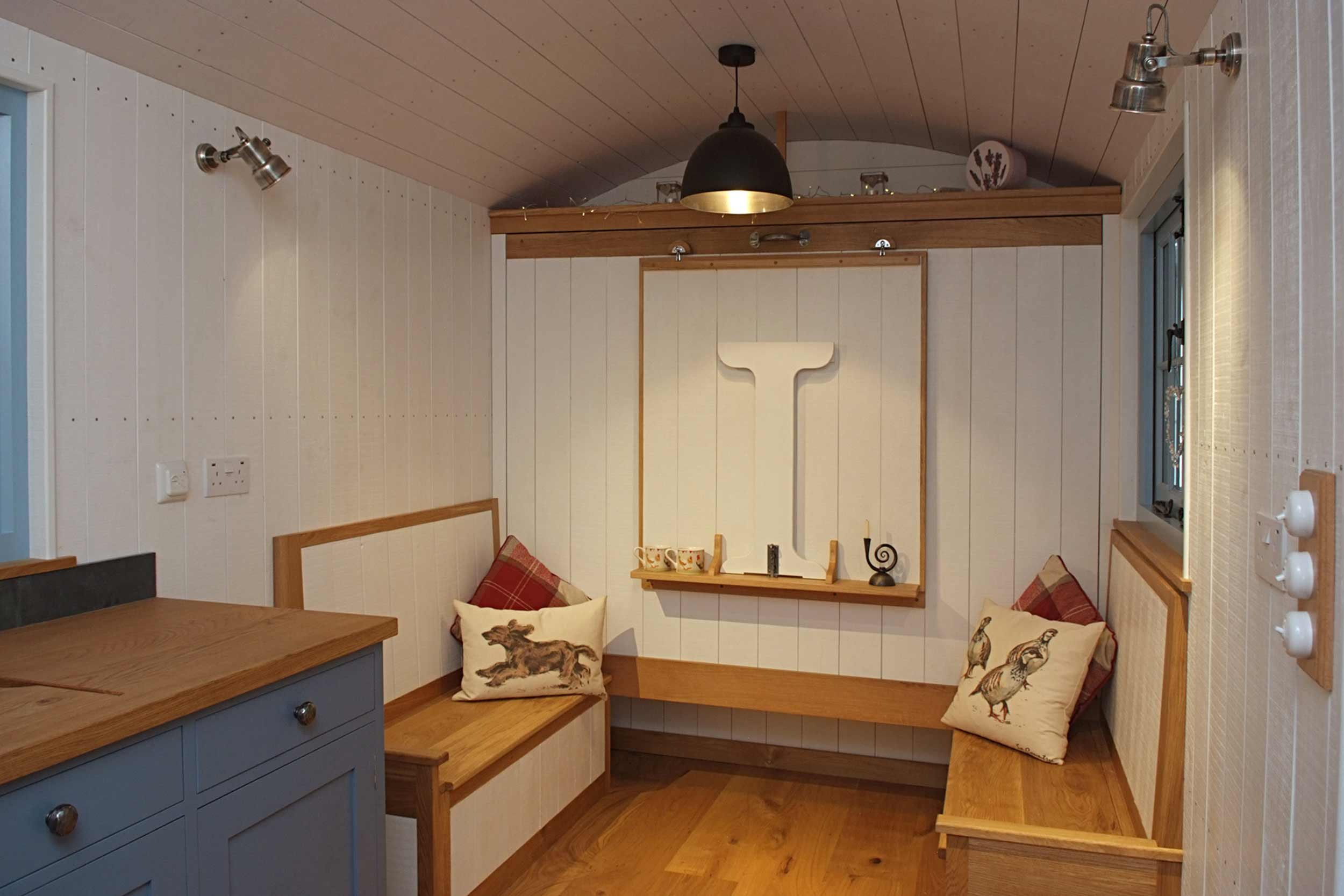 Shepherds Hut Fitted Seating Area