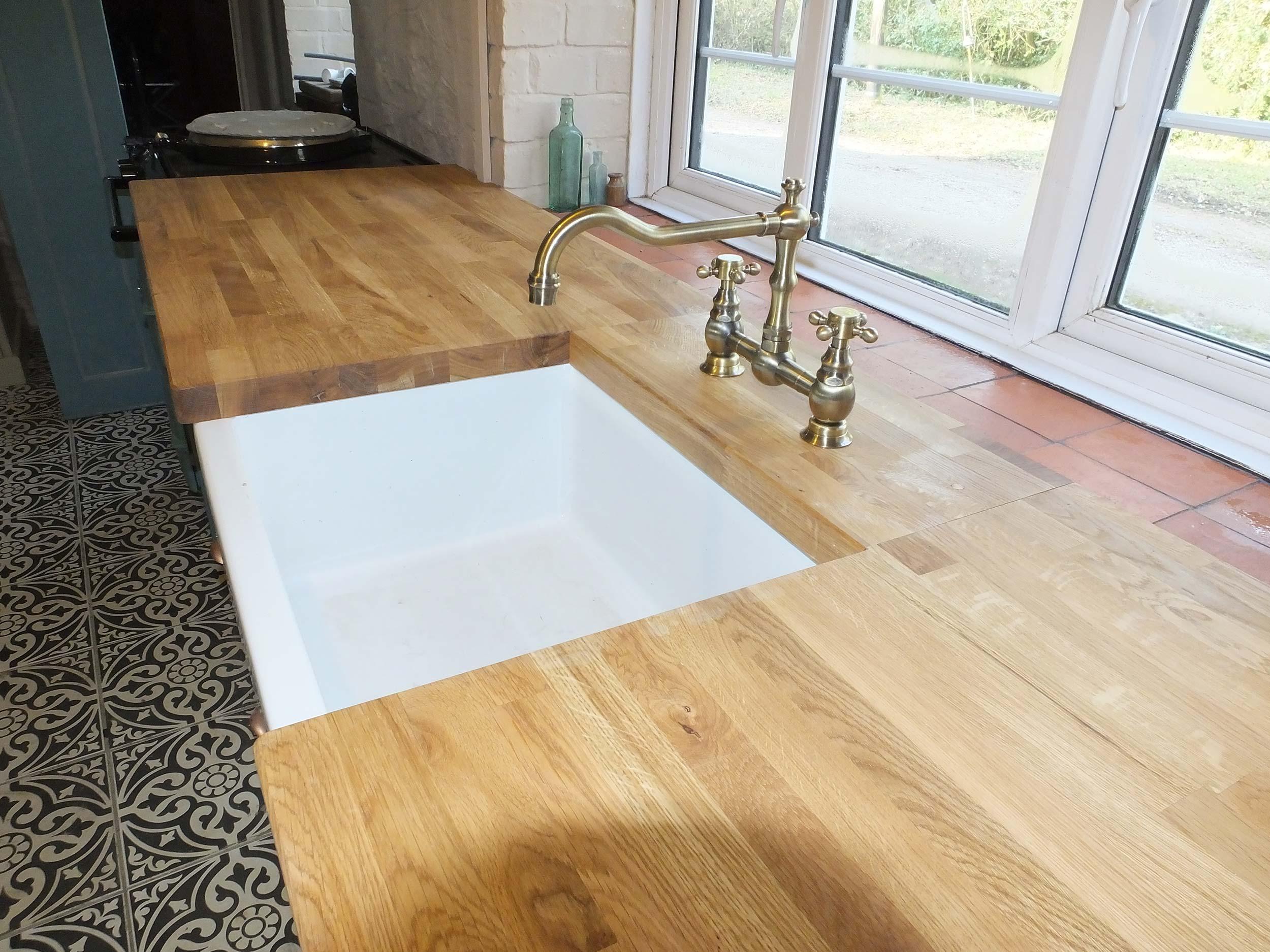 Solid Oak Stave Worktop with Belfast Sink