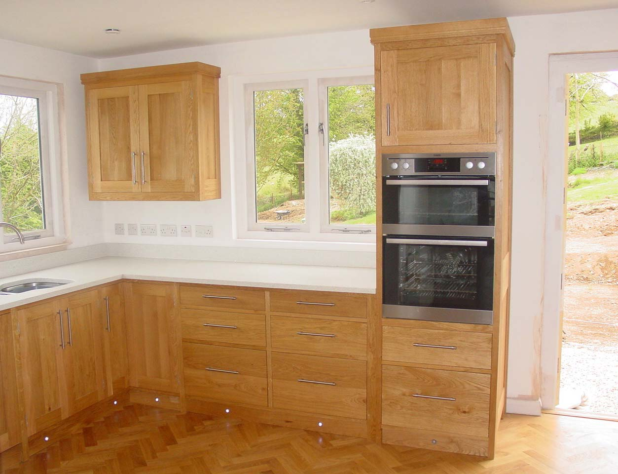 Full Height Oak Integrated Oven Unit