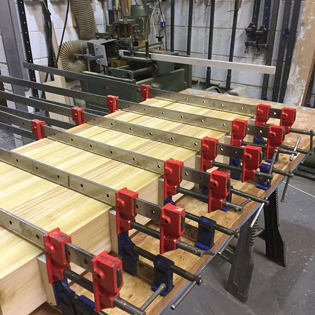 Center Island legs being laminated together