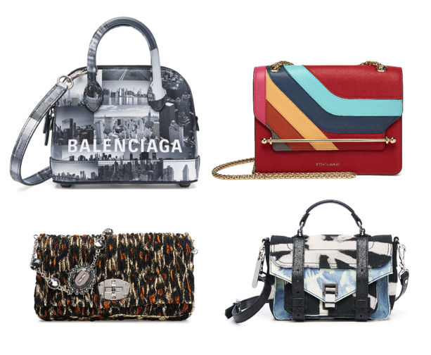 Saks Fifth Avenue exclusives, clockwise from top left: A Balenciaga exclusive for the Saks flagship puts consumers in a New York state of mind; a Strathberry colorblocked bag, Proenza Schouler tie-die and Miu Miu textured metallic.