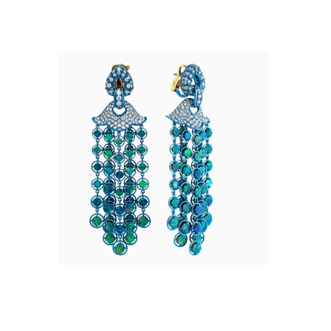 Marina B - Titanium Pampilles Earrings with Opal
