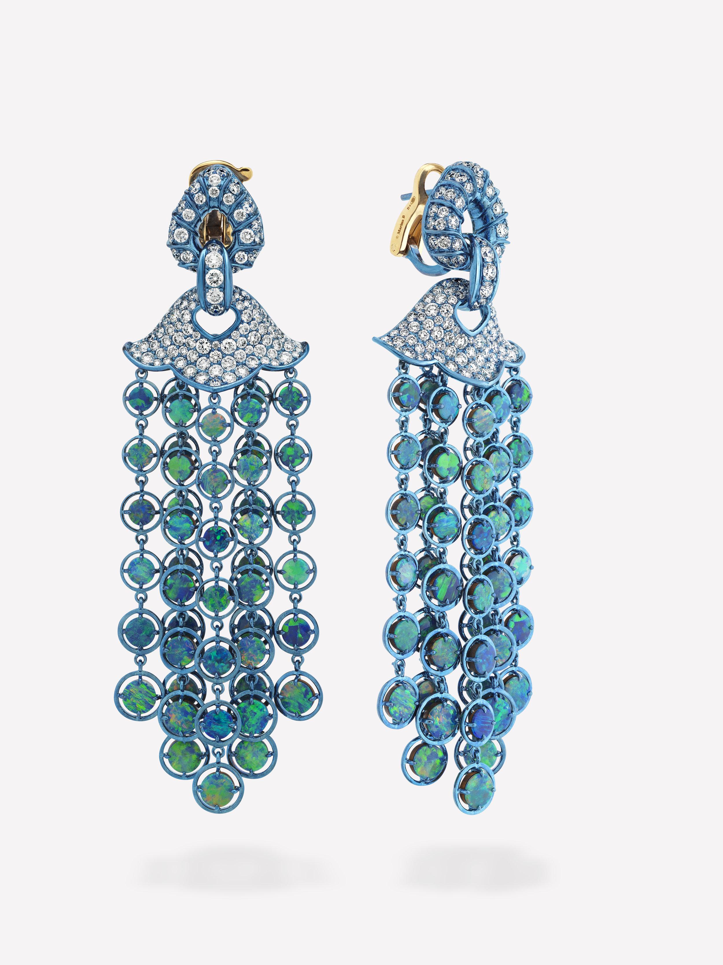Marina B - Titanium Pampilles Earrings with Opal.jpg