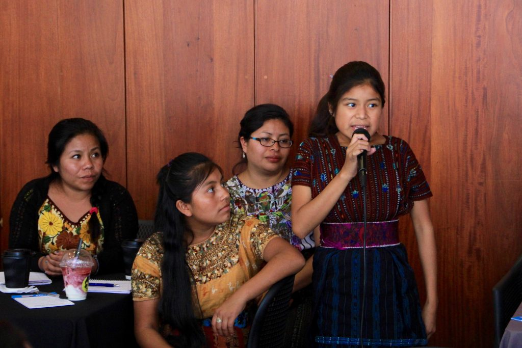 Ingrid speaks at an inclusive marketing event in Guatemala City; Photo by Laura Benoit