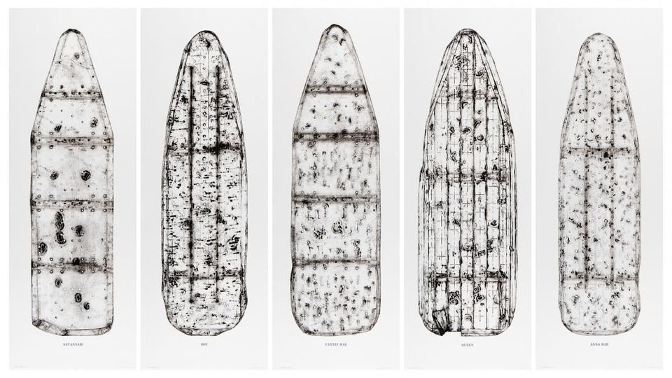 """Willie Cole's """"Five Beauties Rising"""" (2012), intaglio and relief on paper, are prints of ironing boards named (from left) Savannah, Dot, Fannie Mae, Queen, and Anna Mae . (WILLIE COLE)"""