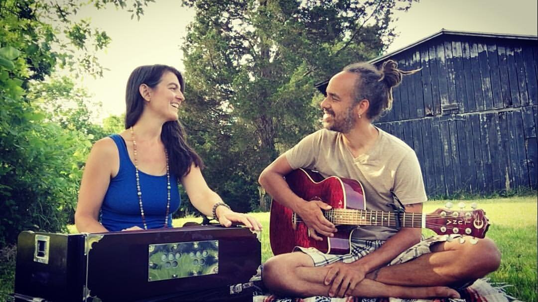 Kentucky, my birthplace, playing   kirtan   in my grandparent's back yard. (2016)
