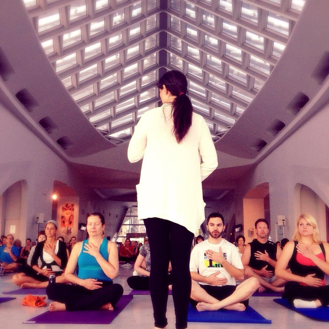 Leading Yoga at the Milwaukee Art Museum.