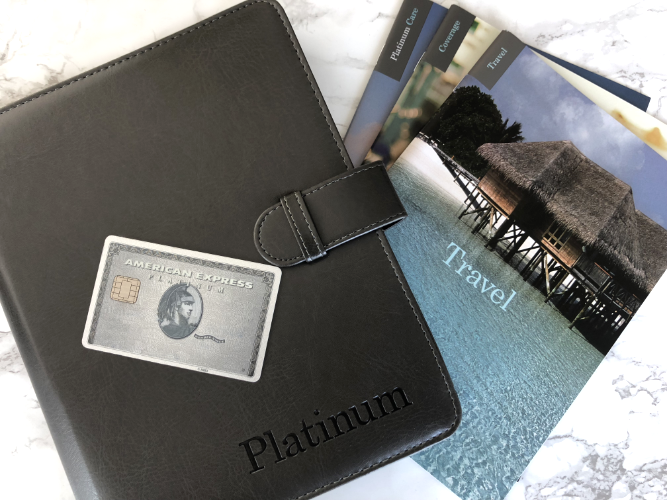 Welcome package we received with our Amex Platinum Card. This year, Amex released a new sleek metal card that we haven't received yet.