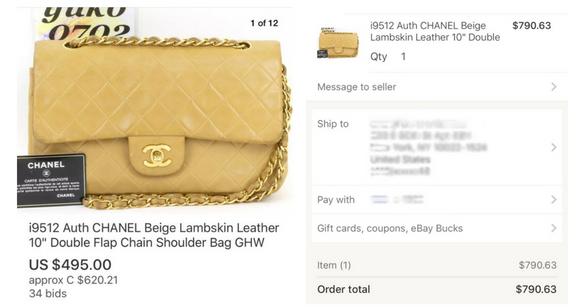 Screenshots of the  eBay  auction I won