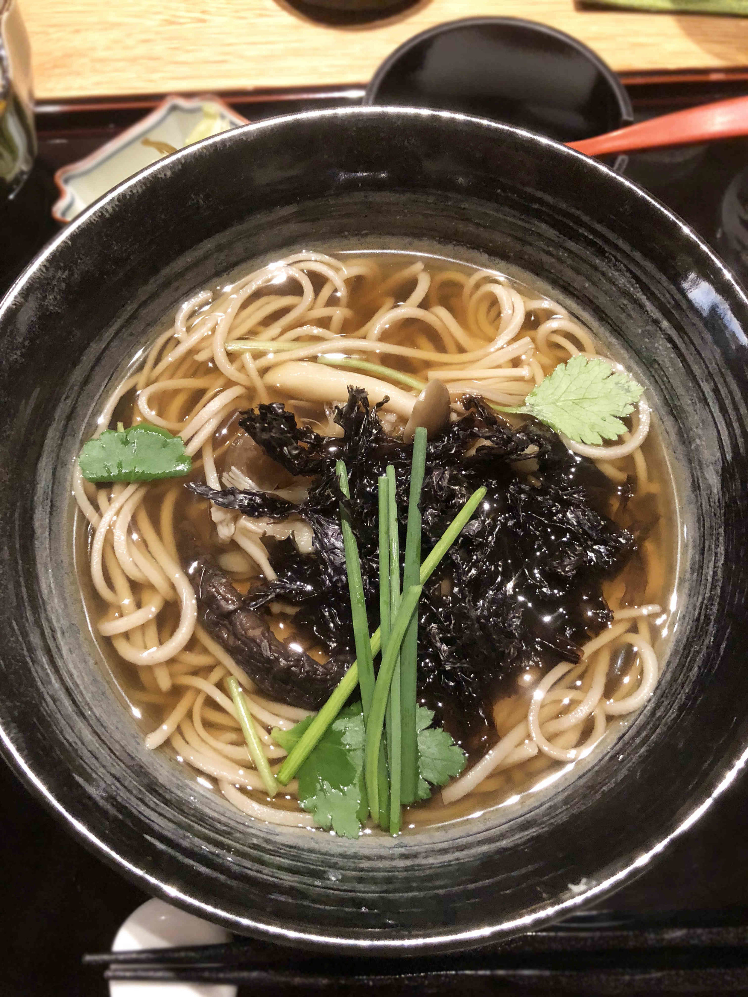 Rich udon with mushrooms