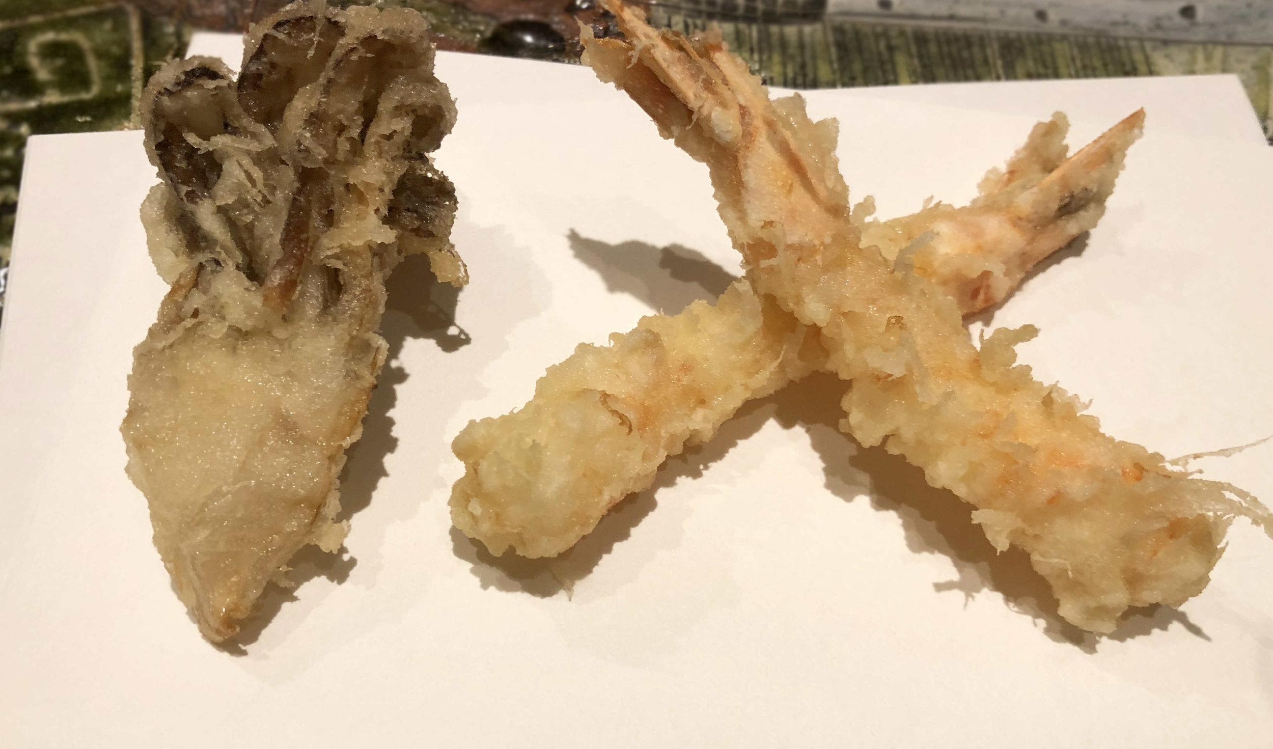 An umami blast - shrimp and mushroom tempura