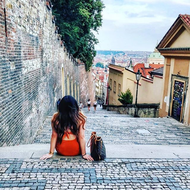 Since Prague is incredibly beautiful, we're often stopped in our tracks...plus, after walking up 300 steps, I needed a break 😂 #outofshape #praha #colorcolourlovers #travelphotography