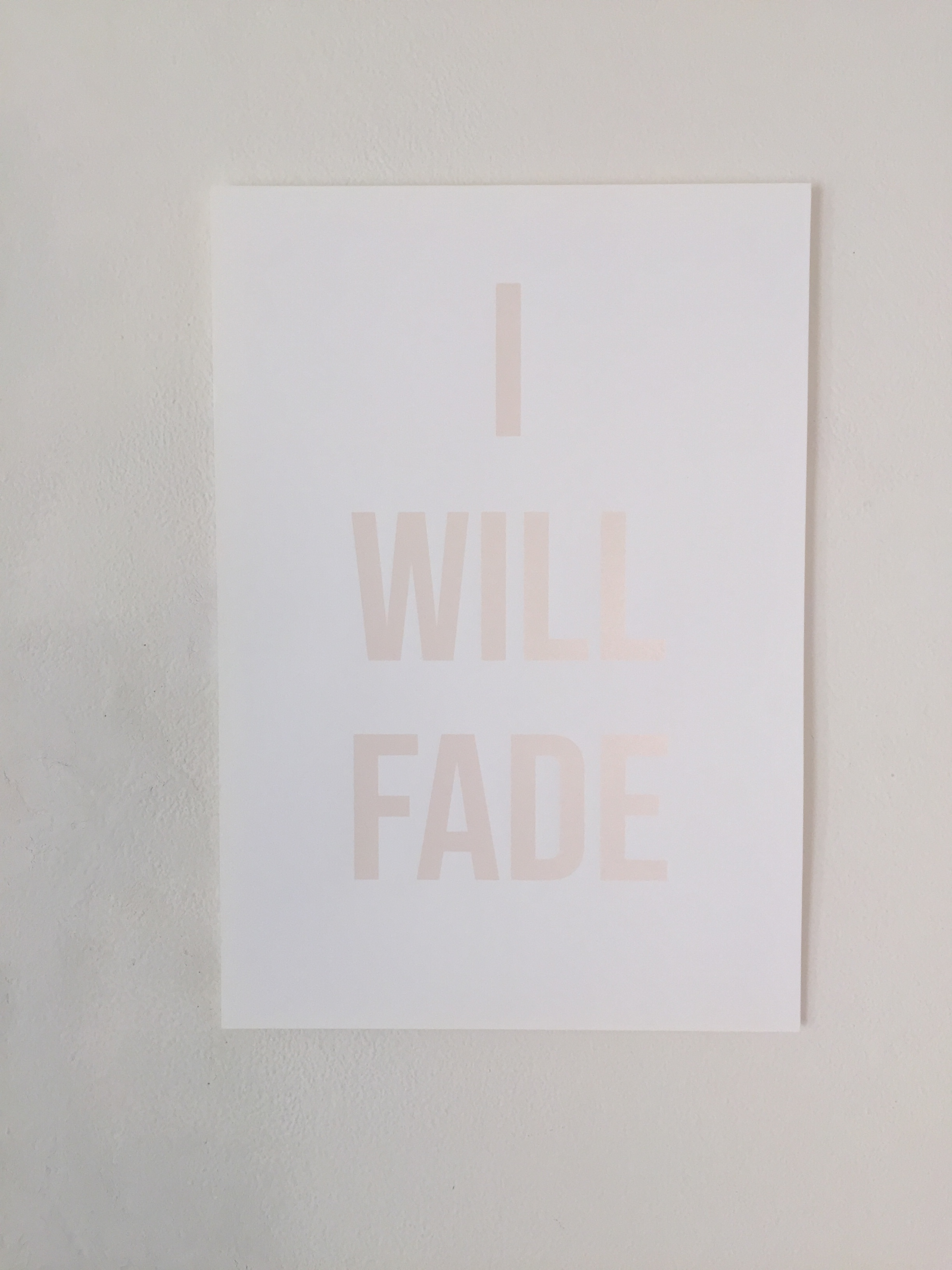 I WILL FADE  2018 / Screen print · Edition of 15 prints · Fabiano Academia 350grs · 50cm x 35 cm · Botanical ink: avocado and prunus cerasiferia